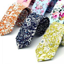 Skinny tie paiSley online shopping - Floral Ties Cotton Necktie Floral Print Neckties For Men Cotton Slim Tie Wedding Party Flower Neckwear Paisley Skinny Ties GGA1651