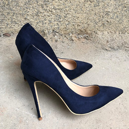 $enCountryForm.capitalKeyWord Canada - 2019SS free shipping fashion women lady sexy Navy blue suede leather Poined Toes high HEELED heels shoes Stiletto Heel shoes pump 12cm 10cm