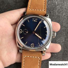 Опт Новый бренд 00690 синий циферблат механический корпус из нержавеющей стали 47 мм кожаный ремешок мужские часы с футляром