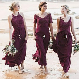 cheap stylish wedding dresses 2019 - Stylish Beach Burgundy Country Bridesmaid dresses Mix and Match Style Top Lace Floor Length Chiffon wedding Party Gowns