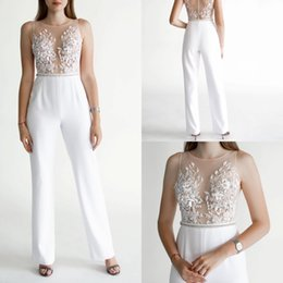 mermaid jumpsuit Australia - 2020 New Arrival Mermaid Jumpsuit Evening Pants Sleeveless Lace Satin Formal Pant Ankle Length Applique Jewel Line Beads Party Gowns