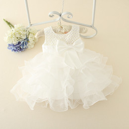 Flower Cakes For Girls Australia - Baby Dress Christening Gown Lace Flower Girls Wedding Dress Baby Girl Cake Costume For Party Occasion 1 Year Birthday Dress 2t Y19050602