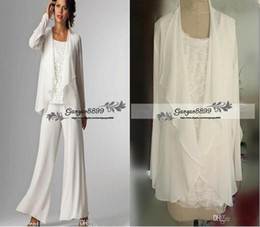 $enCountryForm.capitalKeyWord NZ - Ivory White Chiffon Lady Mother Pants Suits Mother of The Bride Groom mother bride pant suits With Jacket Women Party Dresses trouser suits