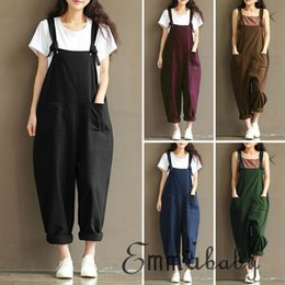 Wholesale strapped jumpsuit for sale – dress New Stylish Women clothes summer Strap Loose square collar sleeveless Jumpsuit solid pocket cotton Casual Rompers one pieces