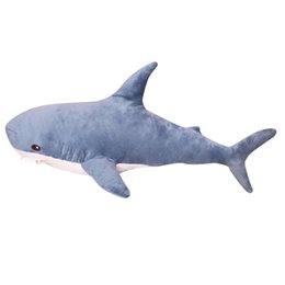 life size toy bear UK - 45-140CM Big Size Shark Plush Toy Soft Stuffed speelgoed Animal Reading Pillow for Birthday Gifts Cushion Gift For Children