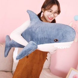reading toys UK - Movies 80cm 100cm Plush Toys Stuffed Toy Shark Kids Children Toys Boys Cushion Girls Animal Reading Pillow for Birthday Gifts