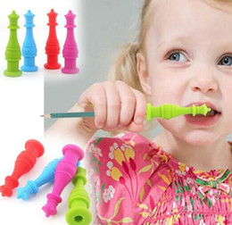 Silicone Toys Australia - Chewable Pencil Toppers Silicone Chewable Chewy Teethers student Kids Chewing pen Topper infant Soother Teether Toy KKA6671