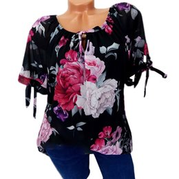 women floral blouses Australia - 5XL Summer Women Tops and Blouses 2019 Clothes Bow Floral Print Loose Plus Size Womens Blouse Short Sleeve Shirt Off Shoulder