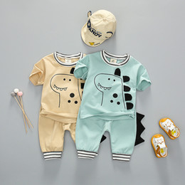shit cartoon NZ - Baby Boys Clothing Sets 2020 Summer New Cartoon Dinosaur Children Boys Girl Clothes Kids Set T-shit + Shorts Infant Costume