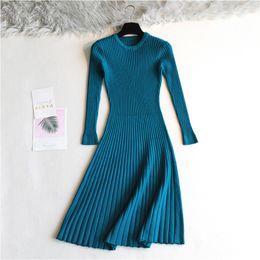 Wholesale thick long robe resale online - 2019 Woman elegant Autumn Winter sweater Dress Solid Women long Thick Dress Sweater Full Sleeve long A Line robe Knit Dress Y200101
