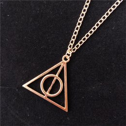 Necklace harry potter online shopping - Fashion High Quality Jewelry The Deathly Hallows triangle Necklace Antique Harry Silver Bronze Gold Deathly Hallows Pendants Potter WCW733