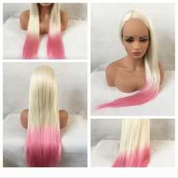 black pink ombre wig Canada - Sexy Cosplay Party Wigs Ombre Blonde Pink Long Silky Straight Wigs Heat Resistant Glueless Synthetic Lace Front Wigs for Black Women