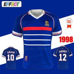 Wholesale Retro 1998 FRANCE Soccer Jerseys Classic Vintage Thailand Home  Blue Away White Zidane Henry soccer uniforms football shirts f9bac9821