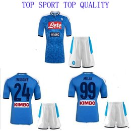 soccer sport pants NZ - Napoli Football Jersey Shorts Home Soccer Kits 19 20 NSIGNE MERTENS PLAYER MILIK Jersey and Pants Naples Blue Sports Sets Football Uniforms