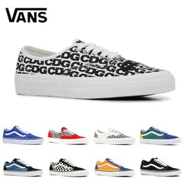 Original quality Vans Old Skool canvas sneakers fear of god white red YACHT  CLUB classic black blue men women skates shoes 01e924877