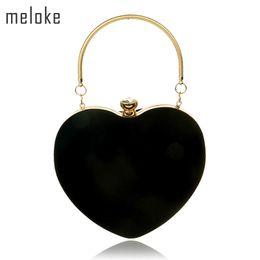Heart Shaped Bags Australia - Meloke 2019 Heart Shaped Diamonds Women Evening Bags Chain Shoulder Purse Day Clutches Evening Bags MN865