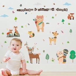 Cartoon Retail Australia - Retail 90*60cm cartoon animal fawn children's room bedroom dormitory kindergarten school children's fun wall stickers murals