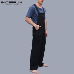 Jumpsuit Men Xs Australia - INCERUN Fashion Mens Jumpsuit Rompers Pockets Solid Streetwear Strap Suspenders Pants Men Loose Joggers Overalls Harajuku 2019
