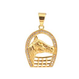 "$enCountryForm.capitalKeyWord UK - wholesale Stainless Steel Pendants Luck Horseshoe Gold Horse Hand Clear Rhinestone DIY Findings 51mm x 30mm(1 1 8""), 1 Piece"