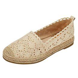 Ladies Soft Canvas Shoes Australia - woman sandals 2019 summer Ladies Sole Hollow Floral Lace Ankle Flat Canvas Round Toe Breathable Shoes Soft Bottom Comfortable