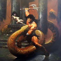 $enCountryForm.capitalKeyWord NZ - Fantasy Art Warrior Wrestle With Python,Oil Painting Reproduction High Quality Giclee Print on Canvas Modern Home Art Decor
