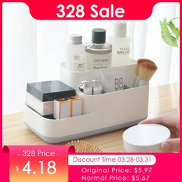Eco Friendly Makeup Organizer Australia - Plastic Makeup Organizer Bathroom Storage Box Cosmetic Organiser Office Desktop Make Up Jewelry Storage Box Sundries Container
