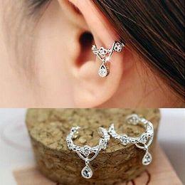 Belly Piercing Pendant Australia - Fashion 1 Pcs Women Elegant No Piercing Crystal Rhinestone Water Drop Pendant Ear Cuff Wrap Clip Cartilage Earrings