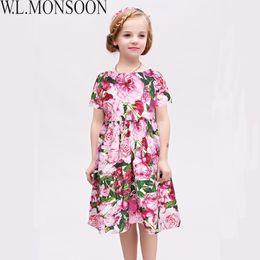 European Clothes Brands Australia - W.L.MONSOON Kids Dresses for Girls Clothes 2019 Brand Toddler Girl Summer Dress Rose Flower Robe Fille Princess Dress Children