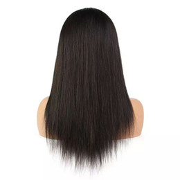 "cheap human hair lace fronts UK - Cheap Malaysian Human Hair Wigs Long Black Silky Straight Swiss Front Full Lace Wig Beautiful Fashion for Female Online 8-28"" Natural Color"