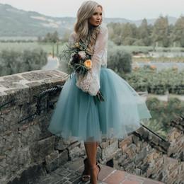 $enCountryForm.capitalKeyWord Australia - Custom Fashion Blue Tulle Skirt Vintage Midi Tutu Pleated Skirts Womens Lolita Petticoat falda Mujer saia jupe Secret