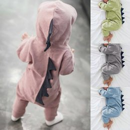 Yellow Hooded Jumpsuit Australia - Newborn Infant Baby Boy Girl Dinosaur Hooded Romper Jumpsuit Outfits Clothes Long Sleeve Solid Baby Rompers Casual Comfortable
