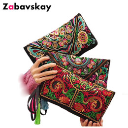 women summer clutch NZ - 2019 Summer Women Ethnic National Retro Butterfly Flower Bags Handbag Coin Purse Embroidered Lady Clutch Tassel Small Bag DJZ102