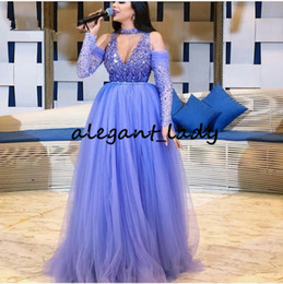 Lavender Lilac Plus Size Occasion Prom Formal Dresses with Long Sleeve Sexy Luxury Beaded Crystal Princess Prom Pageant Gowns on Sale