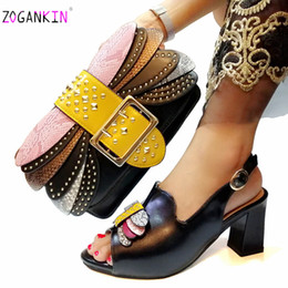italian women heels 2019 - Summer New Design Elegant Black Color Shoes And Bag To Match Set Italian Ladies Comfortable Heels for Royal Wedding Part