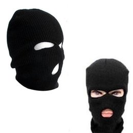 face covering hats Australia - 3 Hole Face Mask Beanie Winter Warm Ski Snowboard Hat Cap Wear Balaclava Full Face Cover Mask