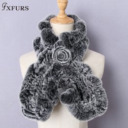 Womens Winter Fur Scarves Australia - FXFURS High Quality Fashion Womens Knitted Rex Rabbit Fur Scarves Natural Fur Neckerchief Winter Real Flounce scarf Wraps