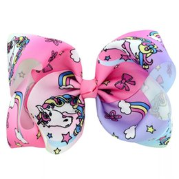 Baby Sequin Hair Clips Wholesale Australia - Princess Flower 8 Inches jojo siwa bows baby girl hair barrettes Sequins Mermaid Unicorn Clippers Girls Hair Clips Floral JOJO SIWA Hairpins