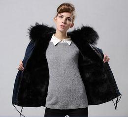 $enCountryForm.capitalKeyWord NZ - Meifeng brand Soft fur Women snow coats black rabbit fur lined navy blue mini parka with black raccoon fur trim hoody