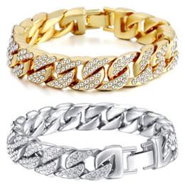 Pave Clasps Australia - 14mm Cuban Bracelet For Men Gold Silver Color Hip Hop Iced Out Paved Rhinestones Cz Rapper Bracelet Jewelry C19021501