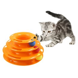 tracking ball UK - Three Levels pet cat toy Tower Tracks Disc cat Intelligence Amusement triple pay disc cat toys ball Training Amusement plate