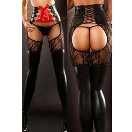 33c81256f3b Sexy LaceLPVC Stockings Crotchless Lingerie Lace Up Leggings Erotic Punk Fetish  Club Wear PVC Gothic Bodycon Pants