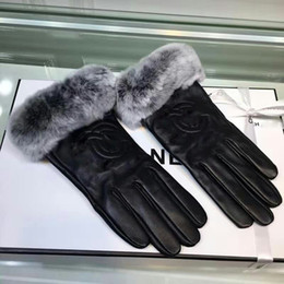 rabbit hair gloves Australia - Black Genuine Leather Gloves for Ladies INS Style Women's Winter Gloves with Rabbit Hair Fashion Sheepskin Gloves with Logo