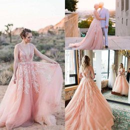 sexy country shirts Australia - 2019 Charming Blush Pink Beach Wedding Dresses With Sexy Backless Deep V-Neck Beads Lace Appliques Country garden Bridal Gowns Customed