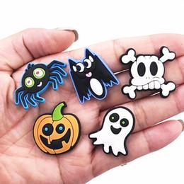 Cute Cartoon Charms Australia - 50Pcs Cute Cartoon Halloween Pumpkin Spider Soft Decor Accessories Flat Back PVC Gadgets DIY Fit Bracelets,Shoe Charms Kids