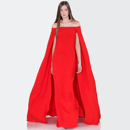 $enCountryForm.capitalKeyWord UK - Arabic Muslim Red Evening Dress With Cape 2019 Spring Summer Boho Formal Prom Dresses Floor Length Red Carpet Pageant Celebrity Gown Custom