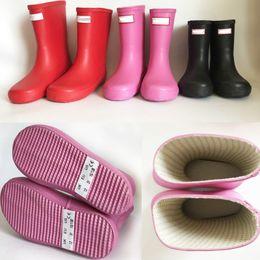 Flat heel rain boots online shopping - Kids H Letter Print Rainboots Candy Color Mid Calf Rain Boots Waterproof Rubber Low Heel Water Shoes Boys Girls Rainshoes new A41306
