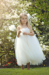Tea Party Dresses White Canada - New Arrival Charming Tea Length Flower Girls Dresses Tulle Ivory White Spaghetti Straps Ruffles Girls Pageant Dresses Kids Party Gowns
