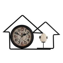 ceramic birds 2019 - 6 Inch American Country House Retro Wrought Iron Mute Clock Antique Home Decoration Bedroom Bedside Ceramic Bird Alarm C