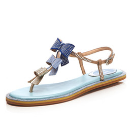 $enCountryForm.capitalKeyWord Australia - Summer Style Women Sandals Sheep Leather Blue Flats Sexy Open-toe Buckle Shoes Butterfly-knot Sandals Box Packing A03