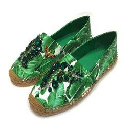 Venta caliente para mujer de primavera Alpargatas de cuero plana holgazán impreso resbalón en los zapatos con diamantes de imitación en venta